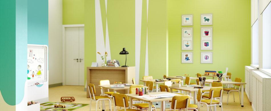Интерьер детского сада в ЖК UP-квартала «Московский»