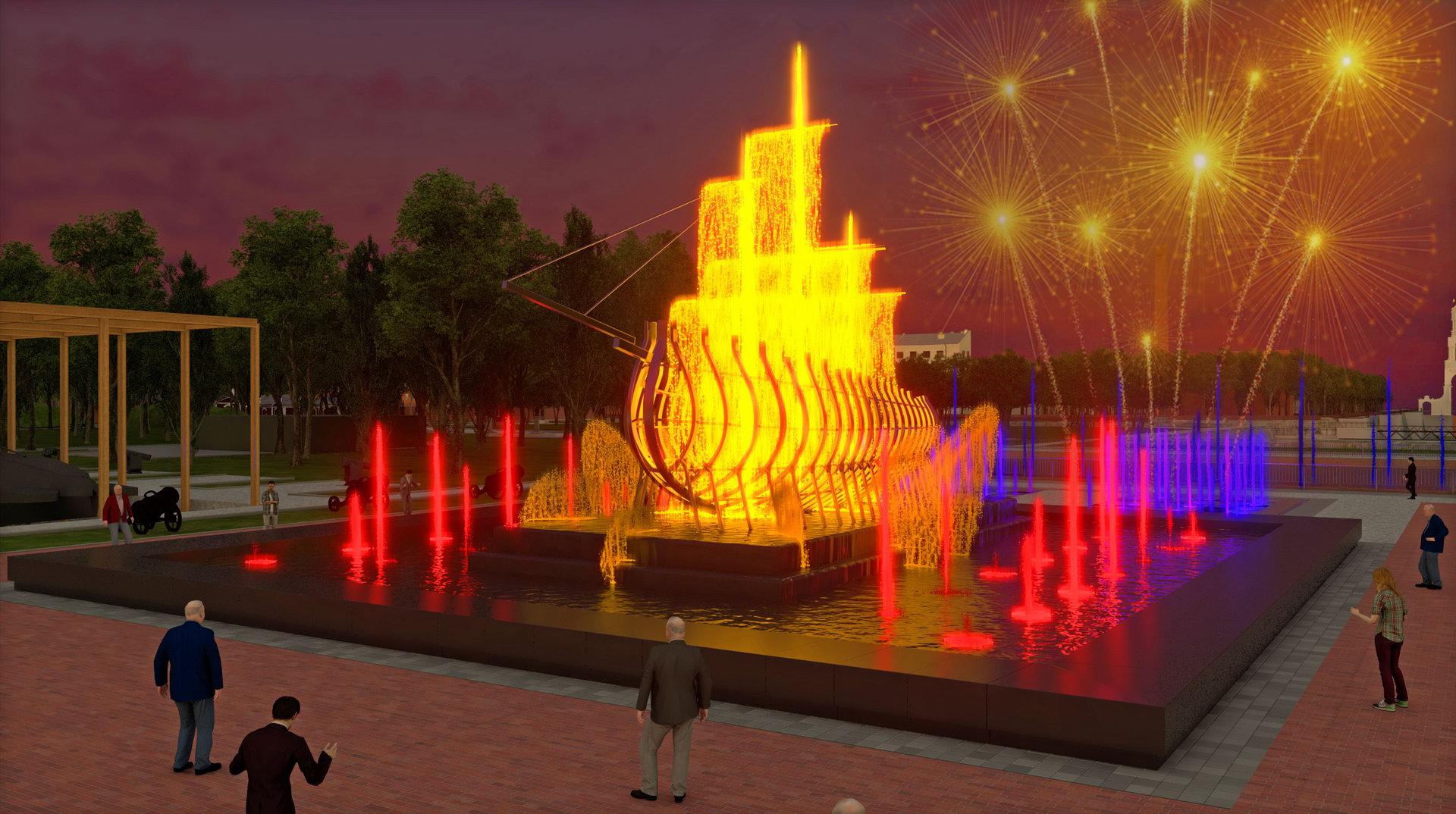 Музыкальный фонтан на территории парка «Патриот» в Кронштадте